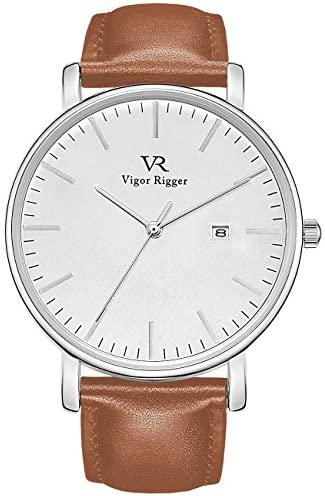 Vigor Rigger Mens Watch Minimalist Gents Dress Wristwatch Big Face Day Date Leather Strap