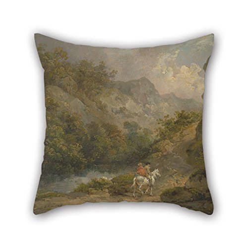 18 X 18 Inch / 45 By 45 Cm Oil Painting George Morland - Rocky Landscape With Two Men On A Horse Cushion Cases ,double Sides Ornament And Gift To Chair,son,couch,sofa,home Theater,gril (Rocky Wig)