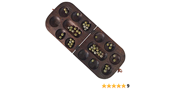 mancala African Oware Folding rounded shape Hancarved, Seed Board Game