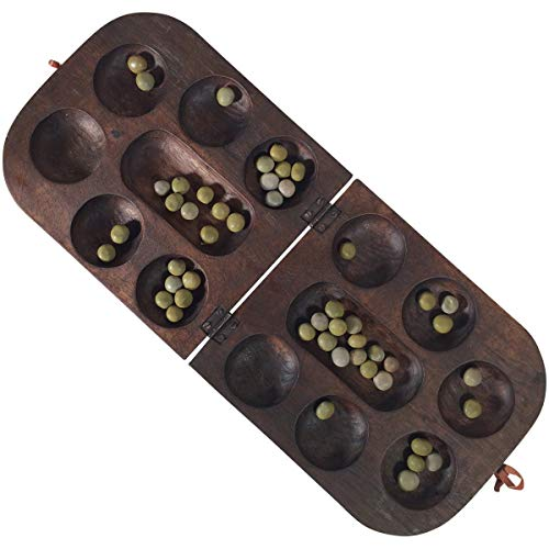 African Oware (mancala) Seed Board Game - Folding rounded shape - Hancarved, solid wood with seeds - Free instructions - by Africa Heartwood Project