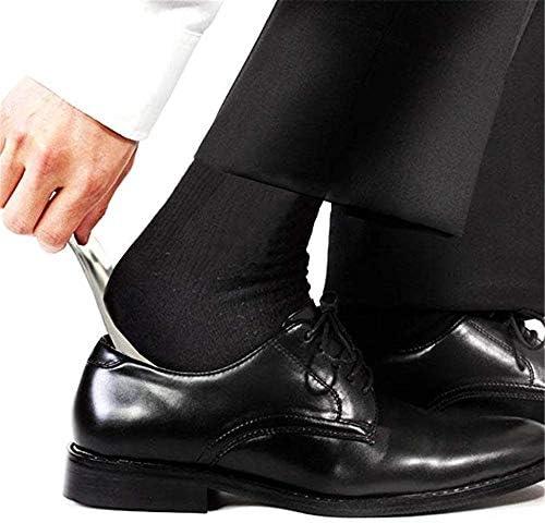 軽量 レザーストラップポータブルトラベルキーホルダー靴べらステンレス製シューホーン 耐用 (Color : Brown, Size : 13*3.8cm)