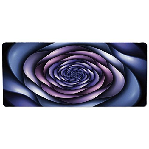 Hazy Violet - Mouse Pad Unique Custom Printed Mousepad [ Spires Decor,Authentic Rose Petals Flower Shaped Spiral Hazy Lines New Futurist Design,Violet Purple ] Stitched Edge Non Slip Rubber