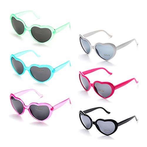 - 6 Neon Colors Heart Shape Party Favors Sunglasses, Multi Packs (6-Pack Mix)