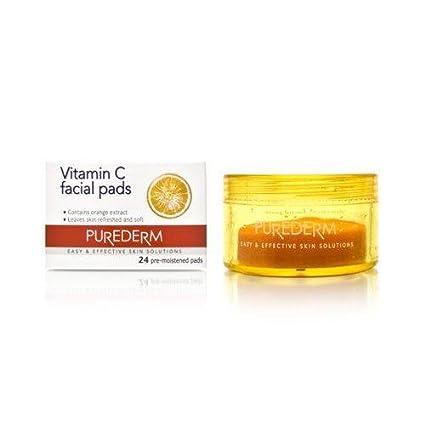 Purederm Vitamina C - Almohadillas faciales naranjas para piel sensible y seca
