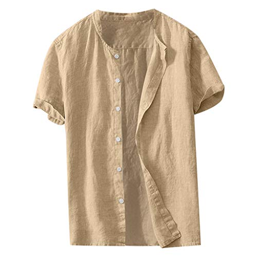 JJLIKER Mens Cotton Linen Stand Collar Short Sleeve Shirts Casual Henley Button-Down Tee Tops Lightweight Blouse Khaki