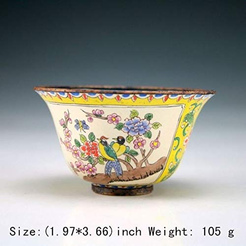 ZAMTAC Exquisite Oriental Ancient Handmade Cloisonne Bowl Painted with Beautiful Flowers and Birds ()