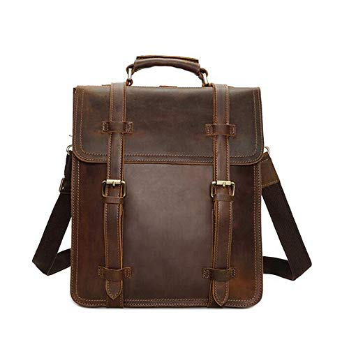 para Cuero Mochila Tsutou Hombres Daypack de Bookbags Genuino Brown de Day Color Schoolbags portátil Business Mochila Brown wqqB1H7