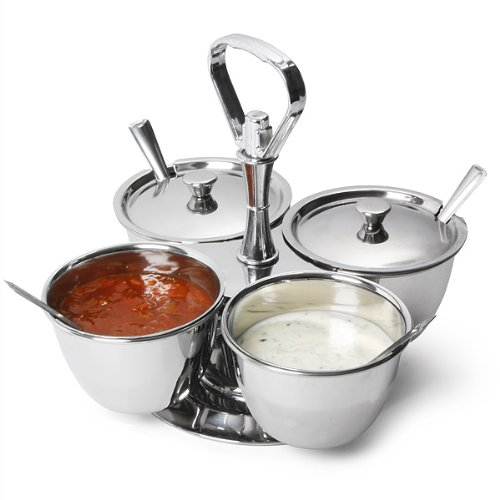 Revolving Relish Server Dish by bar@drinkstuff   Stainless Steel 4 Sauce Curry, Condiment, Dip Bowls