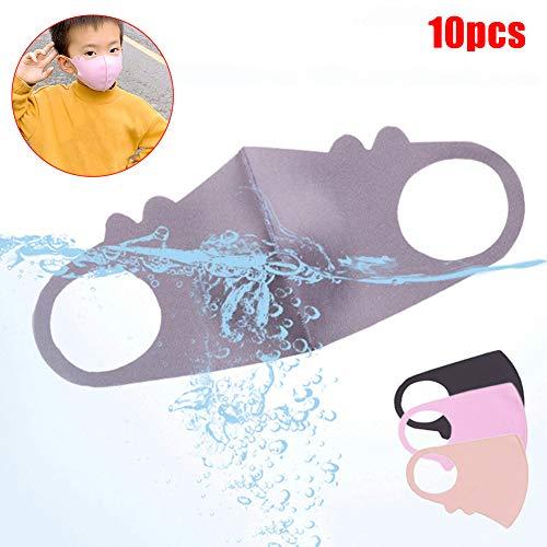 Fenfangxilas Fashion Unisex Mouth Face Cover 10Pcs Kids Children Silk Cotton Dust Proof Anti Haze Breathable Face Mouth Safety Face for Dust Protection – Random Color 10pcs