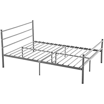 metal bed frame full size greenforest 10 legs mattress foundation two headboards silver platform bed frame box spring replacement