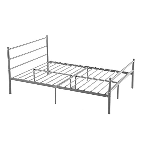 Size, GreenForest 10 Legs Mattress Foundation Two Headboards Silver Platform Bed Frame Box Spring Replacement (Full Size Metal Bed Frames)