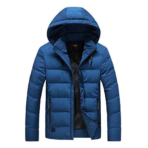 Solid Simple Blue with Energy Zip Men's Coat Relaxed Hooded Fit Duffle xCqOw6T