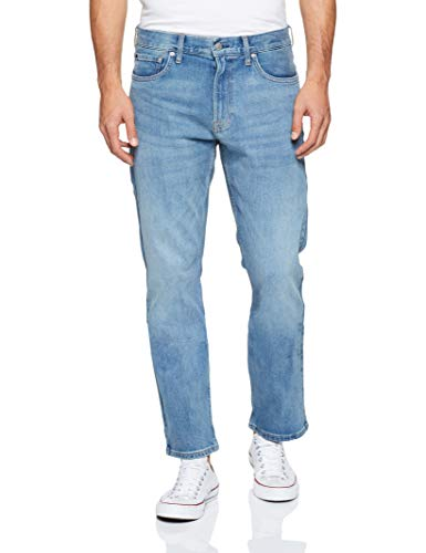 Calvin Klein Men's Straight Fit Jeans, Houston Light Tint, 33W x 30L (Light Natural Logo)