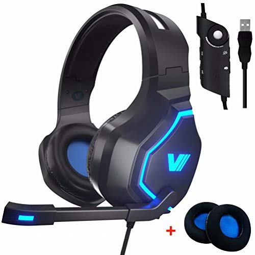 VWELL PC Gaming Headset PS4 Headset with LED Light & Noise Cancelling Mic 7.1 Surround Sound, 2019 Edition Gaming Headphones for PC Laptop Gamers (Best Rated Ps4 Games So Far)