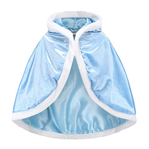 iTvTi Princess Cloak with Hood Girls Cape Kid Toddler Costume Dress up for Halloween Christmas Carnival Cospaly -