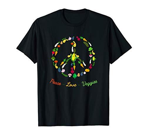 Peace Love Veggie Funny Vegetarian T-shirt Emblem Tee