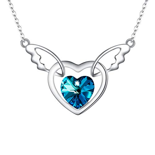 (BriLove 925 Sterling Silver Heart Necklace Swarovski Crystal Angel Wing Cupid Open Heart Pendant Necklace for Women Bermuda Blue)