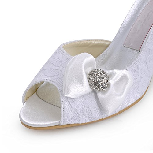 Minitoo , Chaussures de mariage tendance femme - blanc - White-7.5cm Heel,