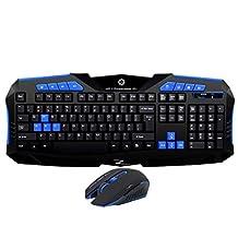 TENMOS F1 Wireless Gaming Keyboard and Mouse Combo 2.4G Optical Ergonomic Waterproof Keyboard set for Mac/PC/Desktop(Blue&Black)