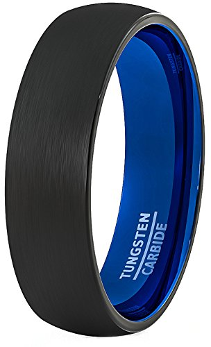 Mens Wedding Band 6mm Black Brushed Inside Deep Blue Dome Comfort Fit (10) by Duke Collections