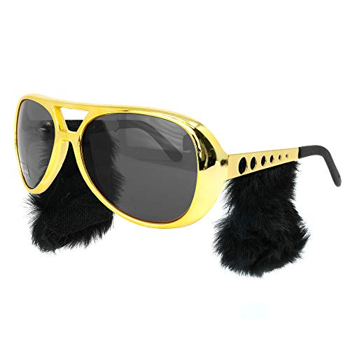 Skeleteen Elvis Rockstar Costume Glasses - Gold Celebrity Aviator Shades with Sideburns - 1 Pair