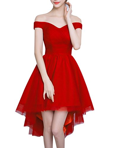 Red Carpet Rhinestone (Bess Bridal Women's High Low Off Shoulder Lace Up Prom Homecoming Dress US10)