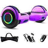 """Skywheel 6.5"""" Z1+ Hoverboard Self Balancing Scooter for Adult Kids Two Wheel Smart Hover Boards with Bluetooth Speaker LED Lights Bag (Chrome Purple)"""