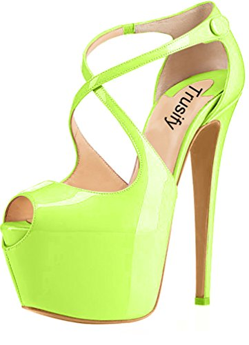 Trusify Mujer 16cm EU tamaño 34-46 Trucrack Tacón de aguja 16CM Sintético Sandalias de vestir Verde yellow
