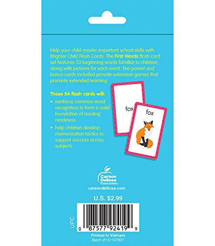 Carson Dellosa | First Words Flash Cards | Phonics, Preschool, 54ct