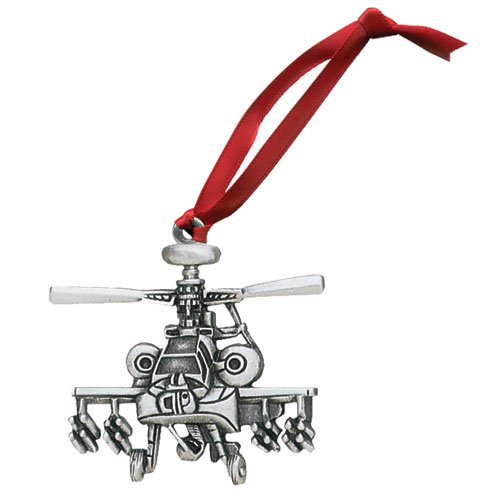 Apache Helicopter Ornament - Set of 2