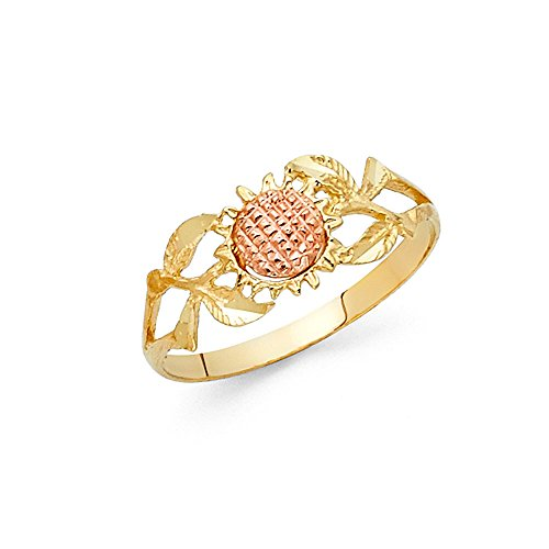 14k Yellow & Rose Gold Sunflower Ring Flower Band Polished Finish Fashion Design Two Tone 8MM, Size 9 (14k Yellow Gold Sunflower)
