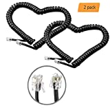 Telephone Handset Cable Cord, Aladio Direct Black Coiled Phone Cord Extended Telephone Cord Length 1.4 to 6 Ft Uncoiled fit for RJ9/RJ10/RJ22 4P4C, Pack of 2