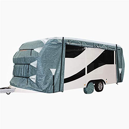 KING BIRD Upgraded Travel Trailer RV Cover, Extra-Thick 4 Layers Anti-UV Top Panel, Deluxe Camper Cover, Fits 20'- 22' RV Cover -Breathable, Water-Repellent, Rip-Stop with 2Pcs Straps & 4 Tire Covers