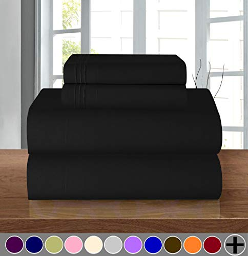 Elegant Comfort  Luxurious Soft 1500 Thread Count Egyptian 4-Piece Sheet Premium Hotel Quality Wrinkle and Fade Resistant Bedding Set, Deep Pocket up to 16inch, California King, Black Black California King Bedroom Set