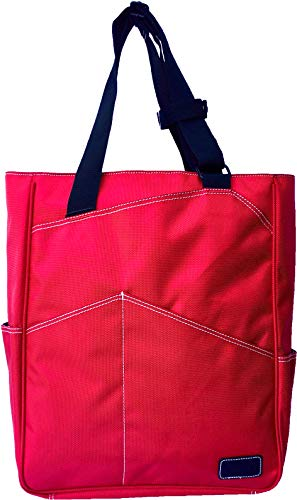 Maggie Mather Tennis Tote, Travel Tote New Zipper Closure (RED)