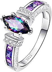 Fashion 925 Silver Jewelry Mystic Topa z Women Wedding Engagement Ring Size 6-10 Sterling Silver Cabochon Whit