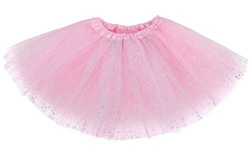 Tutu Princess Ballerina (Sparkly Glitter Tulle Ballerina Fairy Princess Tutu Skirt for Kids Light Pink)