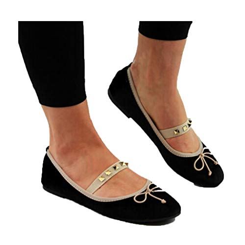 Veodhekai Womens Flats Shoes Retro Comfy Ballerinas Slip On Pumps Ballet Bow Elastic Band Shoes Cute Elegant Black