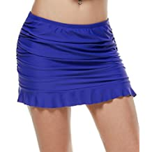 Ekouaer Swim Skirt Womens Ruched Skirted Bikini Bottom With Panty S-XXL