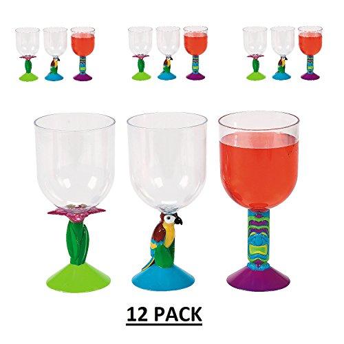 Plastic Luau Stem Glasses (12 Pack)