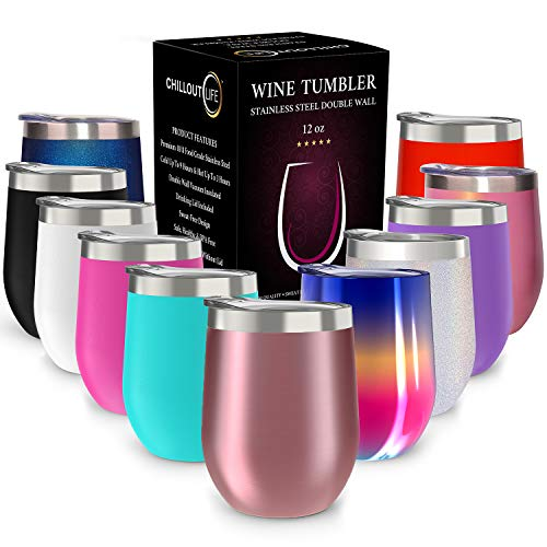 CHILLOUT LIFE 12 oz Stainless Steel Tumbler with Lid & Gift Box | Wine Tumbler Double Wall Vacuum Insulated Travel Tumbler Cup for Coffee, Wine, Cocktails, Ice Cream - Rose - Steel Wine Glass Stainless