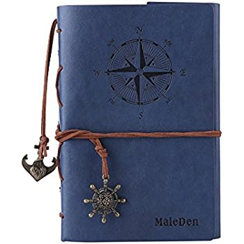 Vintage Refillable Journey Diary, MALEDEN Premium PU Leather Classic Embossed Travel Journal Notebook with Blank Pages and Retro Pendants (Deep Blue)