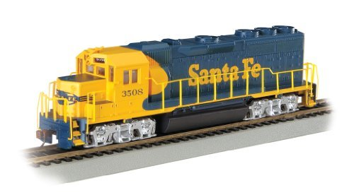 Gp40 Santa (Bachmann Industries EMD GP40 DCC Equipped Locomotive Santa Fe #3508 HO Scale Train Car, Blue/Yellow by Bachmann)