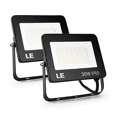 LE LED Flood Light Outdoor, 30W, 3000lm Security Lights, Waterproof IP65 Landscape Floodlight, 5000K Daylight White, 200W HPS Equivalent, for Yard, Garden, Backyard, Porch&Stair, Pack of 2 (White Light Led 30w Flood)