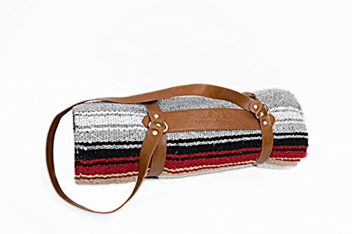 Heather Gray Mexican Yoga Blanket with Strap / Yoga Mat Carry -- Thick Navajo Diamond with Camel & Red Clay Stripes