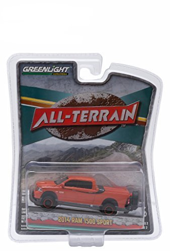 Greenlight 1:64 All Terrain Series 2 - 2014 Dodge Ram 1500 Sport Orange Pickup - Truck Trailduster