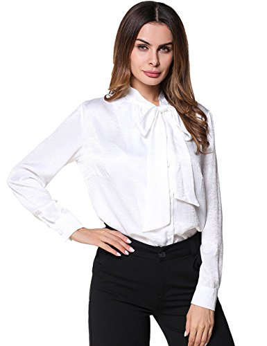 DUNEA Women's Button Down Blouse Tops Long Sleeves Tie-bow Neck Shirt