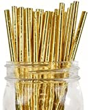 Just Artifacts - Decorative Paper Straws 100pcs - Solid Color Pattern - Metallic Gold - Click For More Colors! Paper Straws and Décor for Birthdays, Weddings, Baby Showers and Life Celebrations!