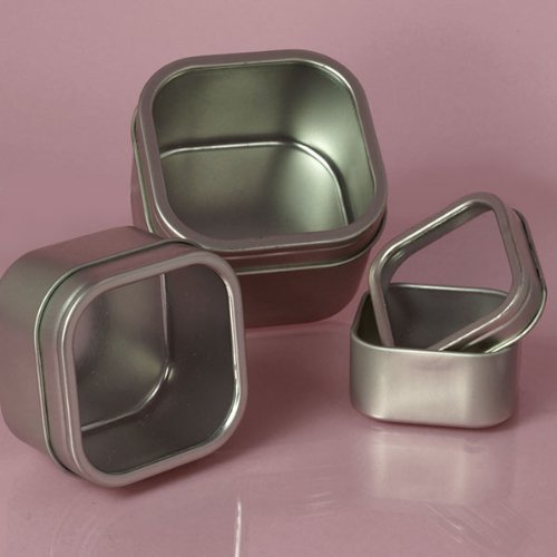 Windowed Square Silver Tins, 4oz (24 Per Pack) by Paper Mart