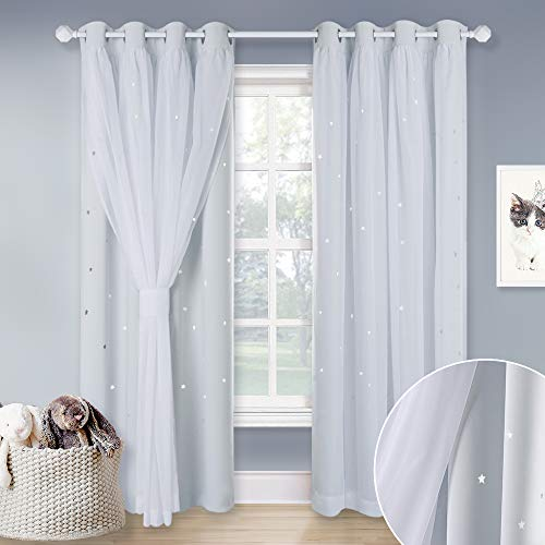 NICETOWN White Sheer Voile & Blackout Drapes Assembled, Mix & Match Star Cut Curtain Panels with Versatile Styling Options for Dining Room, Guest Room (Greyish White, Each is W52 x L84, Sold by 2 PCs) (Pink Stripe Curtain)